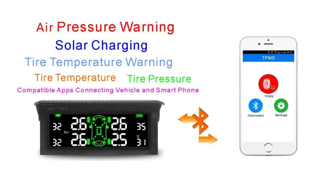 New product about T501 TPMS Tire Pressure Monitoring System, Solar Car Wireless Tmps Tyre Pressure Monitoring System
