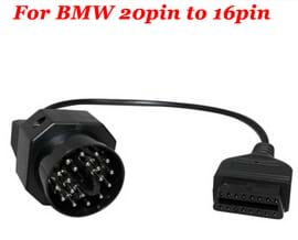 for BMW 20 Pin to OBD2 16 Pin Female Connector E36 E39 X5 Z3 for BMW 20pin